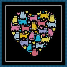 Heart and Cats 4 cross stitch pattern Instant Download PDF