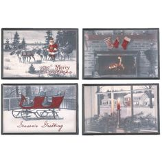 """Vintage+Christmas+Holiday+Wall+Hanging+Set+of+4+11.75""""+x+8.00""""+Material:+MDF+(wood+product)+Black,+White,+Red+Assorted+Christmas+Scenes+Set+includes+one+of+each+"""