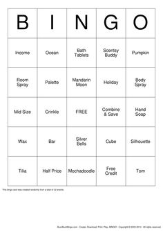 Scentsy Bingo for parties!!!https://jasminekelly.scentsy.ca/ contact me for all your Scentsy need's.