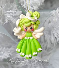 Handcrafted Polymer clay Angel Ornament by Kay Miller on Etsy. by Ornement d'ange en Fimo Polymer Clay, Crea Fimo, Polymer Clay Ornaments, Polymer Clay Figures, Polymer Clay Projects, Polymer Clay Creations, Clay Crafts, Clay Angel, Fimo Kawaii