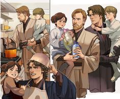 AU where everything is fine and Padme left the kids with Obi wan and Anakin bc she's busy : StarWars Star Wars Logos, Star Wars Poster, Star Wars Humor, Anakin Skywalker, Anakin Vader, Anakin And Padme, Darth Vader, Anakin Obi Wan, Star Wars Fan Art