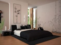 Captivating Asian Themed Bedroom Wall Art with Bamboo Trees and Cute Panda Details