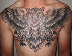 mark-lonsdale-tattoo-bondi-sydney-black-and-grey-owl-chest-piece.gif (709×551)