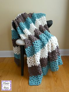 Family Room Throw, free crochet pattern from Fiber Flux