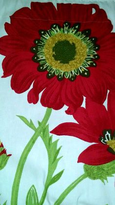 """Red Floral Tapestry Valance Scandinavian Geometric 106 x 23""""  Can be purchased on Ebay  search seller: agift4thrift"""
