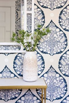 Galbraith & Paul Lotus Wallpaper - Shown in Indigo (Wallpaper Sold By The Yard - 5 Yard Minimum Order) Decor, Home Decor, Dining Room Wallpaper, Traditional Interior Design, White Interior Design, Elle Decor, Home Interior Design, Interior Design Bedroom, Blue And White Wallpaper