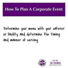 #HowToPlanACorporateEvent Determine your menu with your caterer or facility, and determine the timing and manner of serving. Will it be a buffet or a sit-down, plated meal? Are you doing appetizers ahead of time, and/or are you considering a dessert bar later in the evening? Iron out the exact details and timing so that your guests don't go hungry at any point. ********************************************* #corporateentertainers #corporatemagicians #corporatebostonmagicians…