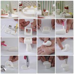 .DIY miniature bathroom pedestal sink - pictorial steps - from clay