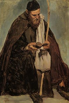 Italian Monk Reading, 1826-1828, Jean-Baptiste-Camille Corot. French (1796 – 1875)