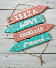 Hangende #wegwijzer #Ibiza #handbeschilderd #boho #tuindecoratie