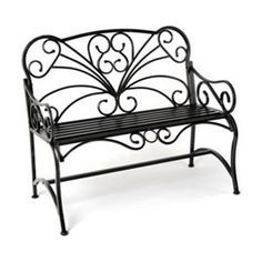 Black Metal Scroll Patio Bench