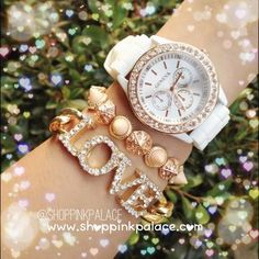 Set of two separate bracelets and a white and rose gold Geneva watch with rhinestones. Adjustable/elastic stretch.