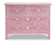 Strawberry & Mother of Pearl Inlay Chest of Drawers