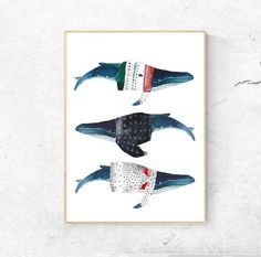 Watercolor Whales, Watercolor Print, Art print, Winter Sweaters, Watercolor Art, Art print, Whale illustration, Nursery Whales, Art LISTING INCLUDES: - One print in your choice of size printed and shipped. - Shipped in a protective clear sleeve in a hardbacked envelope to prevent