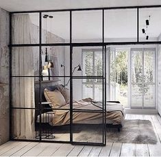 Industrial design loft glass walls - The picture is a bed that looks beautiful and comfortable. With glass-like walls, glass doors such as windows #industrial_design_loft_glass_walls #industrialdesignloftglasswalls #industrialdesign #industrial_design