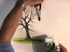 Рисуем деревья акварелью часть 1 - YouTube