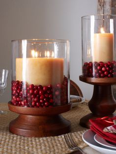 Small details can personalize any item. Add color, texture and a warm holiday vibe by simply adding cranberries to these hurricane candleholders. Winter Christmas, Christmas Holidays, Christmas Crafts, Merry Christmas, Christmas Decorations, Holidays And Events, Happy Holidays, Holiday Centerpieces, Holiday Candles