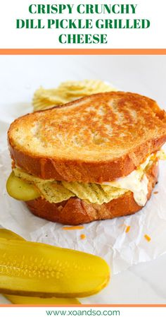 This dill pickle grilled cheese sandwich includes crunchy dill pickle chips and fresh pickle slices for the best grilled cheese you'll ever have! #grilledcheese #vegetariancomfortfood Vegetarian Sandwich Recipes, Vegetarian Comfort Food, Vegetarian Meal Prep, Entree Recipes, Brunch Recipes, Beef Recipes, Recipies, Muffin Recipes, Cooker Recipes