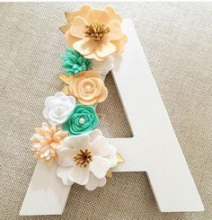 RESERVED for A. Flint: Floral Felt Flower Letter Nursery decor