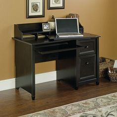 Edge Water 47''W x 37''H Wooden Computer Desk and Hutch with Organizing Cubbyhole Storage - Estate Black, 409043 by Sauder | BizChair.com