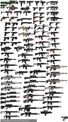 Gun sprites redone Right to owned them to in al States to in the U. Weapons Guns, Guns And Ammo, Survival Weapons, Airsoft Guns, Pixel Art, Weapon Concept Art, Fantasy Weapons, Assault Rifle, Cool Guns