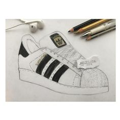 SUPERSTAR I really love this drawing:)) • • • • #adidas #adidassuperstar #black #white #gold #details #shoes #gain #gaintrick #gaintrain