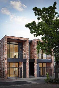 Fixer Upper Behind the Design News Behind the Design Premiere and Schedule - architecture Duplex House Design, Small House Design, Modern House Design, Villa Design, Facade Design, Exterior Design, Modern Townhouse, Townhouse Designs, Brick Facade