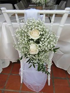 Sanojah's White Sheer Sash With Rose & Baby's Breath Flower Accent