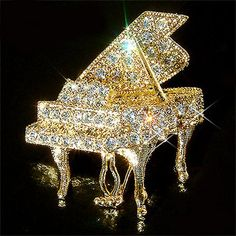 Swarovski Crystal MUSIC Baby Grand Piano Musical Instrument Gold Tone Pin Brooch Jewelry Musician Best Friends Birthday Christmas Gift New Swarovski Crystal Figurines, Crystal Brooch, Swarovski Crystals, Unisex Christmas Gifts, Faberge Eier, Baby Grand Pianos, Glass Figurines, Murano, Bride Gifts