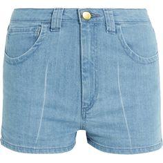 Topshop Unique Holyport denim shorts (£75) ❤ liked on Polyvore featuring shorts, pocket shorts, light blue denim shorts, topshop unique, summer shorts and jean shorts