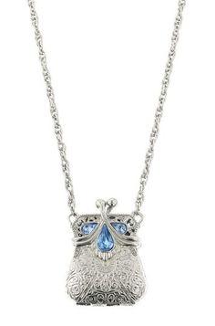 Silver-tone Purse Locket Necklace