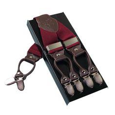 Suspenders Men Leather 6 Clips Braces Men AdjustableSuspenders