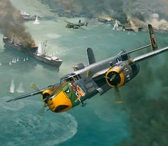 Raid on the China Coast - Painting by Roy Grinnell  |  'Lady Lil' of the Air Apaches, 345th BG, 498th Bomb Squadron is shown attacking Japanese shipping off the China coast between Amoy and Swatow, west of Formosa, 1945.