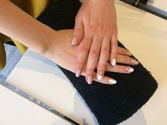 Nails Model - Pink & White Nails - semi french
