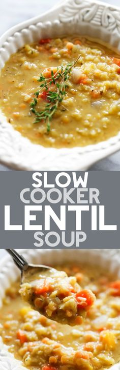 This Slow Cooker Lentil Soup is such a delicious broth soup that is perfect for chilly days. It is loaded with vegetables and lentils and makes for a healthy and filling dinner. ~ Chef In Training