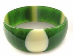 Vintage Lucite Bangle Bracelet 1960's MOD Green w/ Cream Dots from jordyb on Ruby Lane