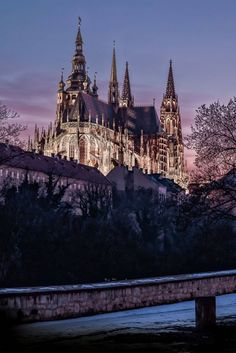 Saint Vitus cathedral from the East at winter night Prague Czechia Romanesque Architecture, Sacred Architecture, Cultural Architecture, Church Architecture, Athens Acropolis, Prague Travel, Prague Czech Republic, Heart Of Europe, Chapelle