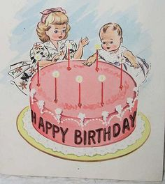 Vintage Birthday Parties, Retro Birthday, Vintage Birthday Cards, Birthday Wishes Cards, Sweet 16 Birthday, Vintage Greeting Cards, Birthday Greetings, It's Your Birthday, Happy Birthday