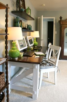 Great color combination and love the floating shelves above the desk