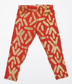 Hand Printed Kids Leggings in Gold on Rust 'Faces' Print
