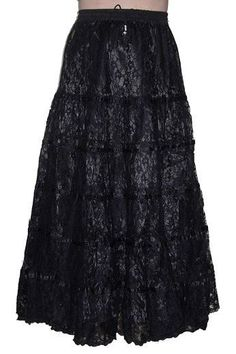 Black Satin and Lace Long Gothic Skirt by Dark Star