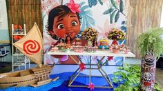 Take a look at this pretty Baby Moana Birthday Party! Love the backdrop!! See more party ideas and share yours at CatchMyParty.com #moana #partyplanning