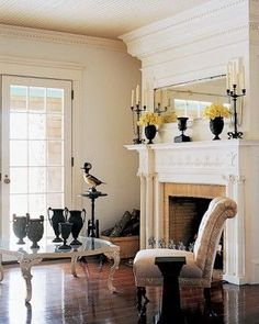 Fireplace with overmantel.