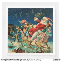 Vintage Santa Claus Sleigh Christmas Holiday Paper Dinner Napkins Retro Christmas Decorations, Cheap Christmas Gifts, Christmas Holidays, Vintage Santa Claus, Vintage Santas, Holiday Cards, Christmas Cards, Paper Dinner Napkins, Christmas Card Holders