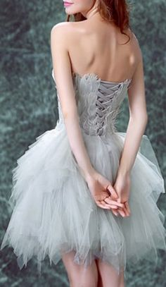 Gray Strapless Feather Embellished Tulle Panel Homecoming Dress