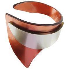 French Designer Space Age Lucite Plexiglass Sculptural Cuff Bracelet
