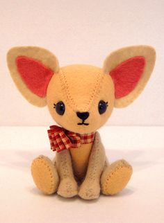 Chihuahua - PDF Pattern Could use this to make a fox, just shorten ears and add.bits of white