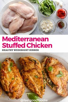 This healthy low carb dinner is so delicious and simple to make! Mediterranean stuffed chicken is a quick and easy weeknight meal that is ready to serve in around 30 minutes and it's loaded with fresh and vibrant flavors.