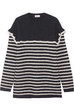 REDValentino   Ruffled striped wool-felt sweater   NET-A-PORTER.COM
