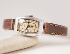 50s lady's wirstwatch Star – rectangular watch Soviet – woman's watch mechanical gift – small lady watch rare - premium leather strap new